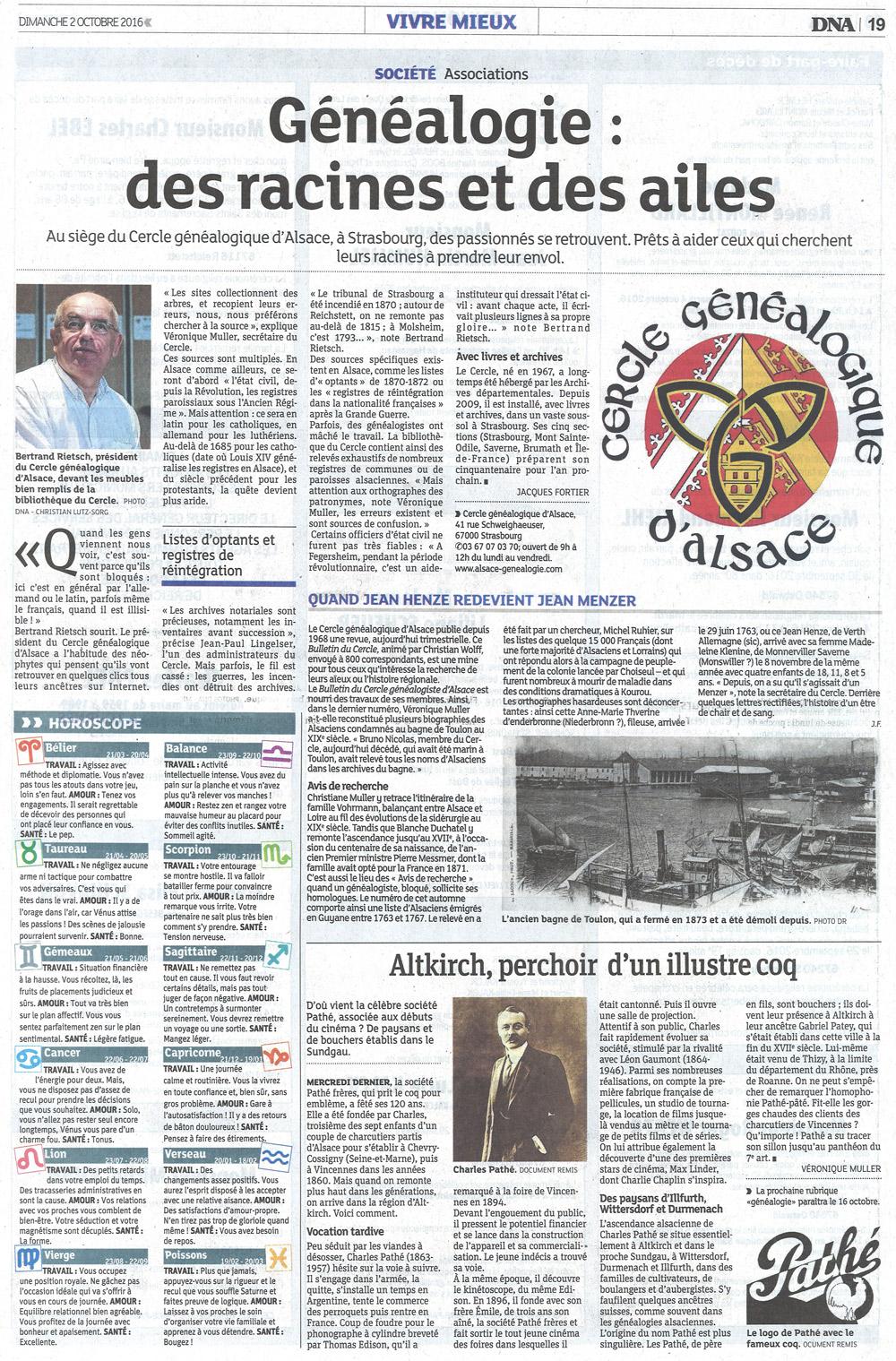 DNA 2 octobre 2016 - article Cercle Généalogique d'Alsace - M.Bertrand Rietsch