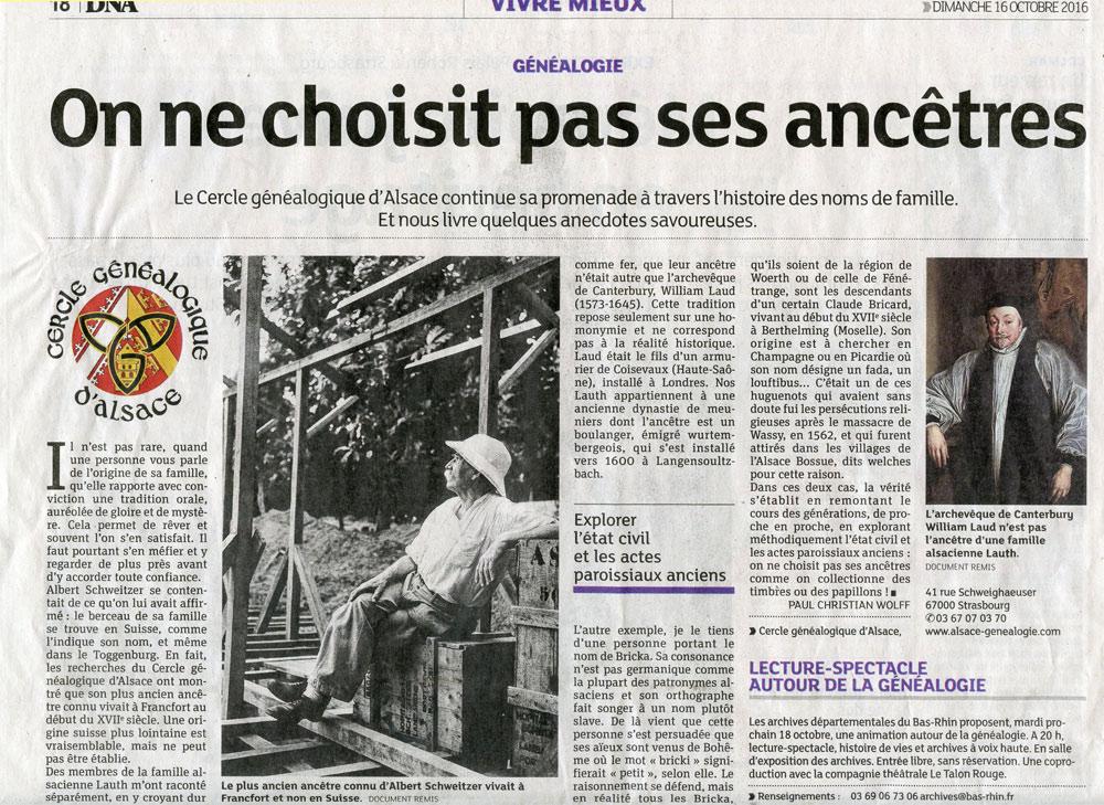 Le Cercle Généalogique d'Alsace dans les DNA le 16 octobre 2016