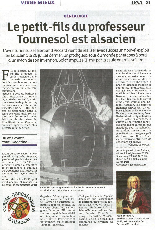 Le Cercle Généalogique d'Alsace dans les DNA le 13 novembre 2016
