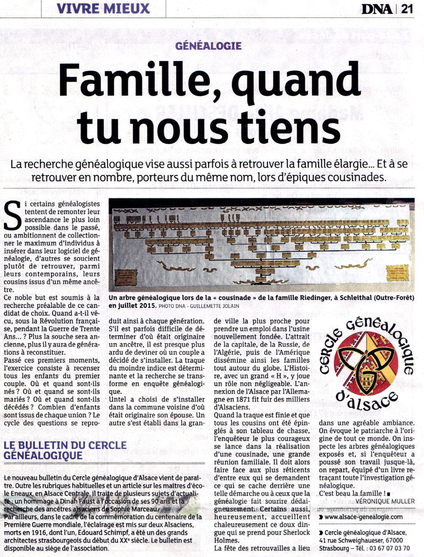 Le Cercle Généalogique d'Alsace dans les DNA le 30 octobre 2016